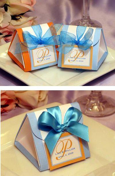 Turquoise And Orange Wedding Origami Favor Bo