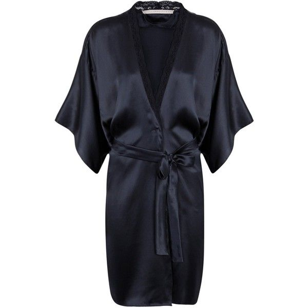 Stella McCartney Clara Whispering Lace-trimmed Silk Robe - Size L ($385) ❤ liked on Polyvore featuring intimates, robes, robe, stella mccartney, navy silk robe, lace trim robe, silk bath robes and silk robe
