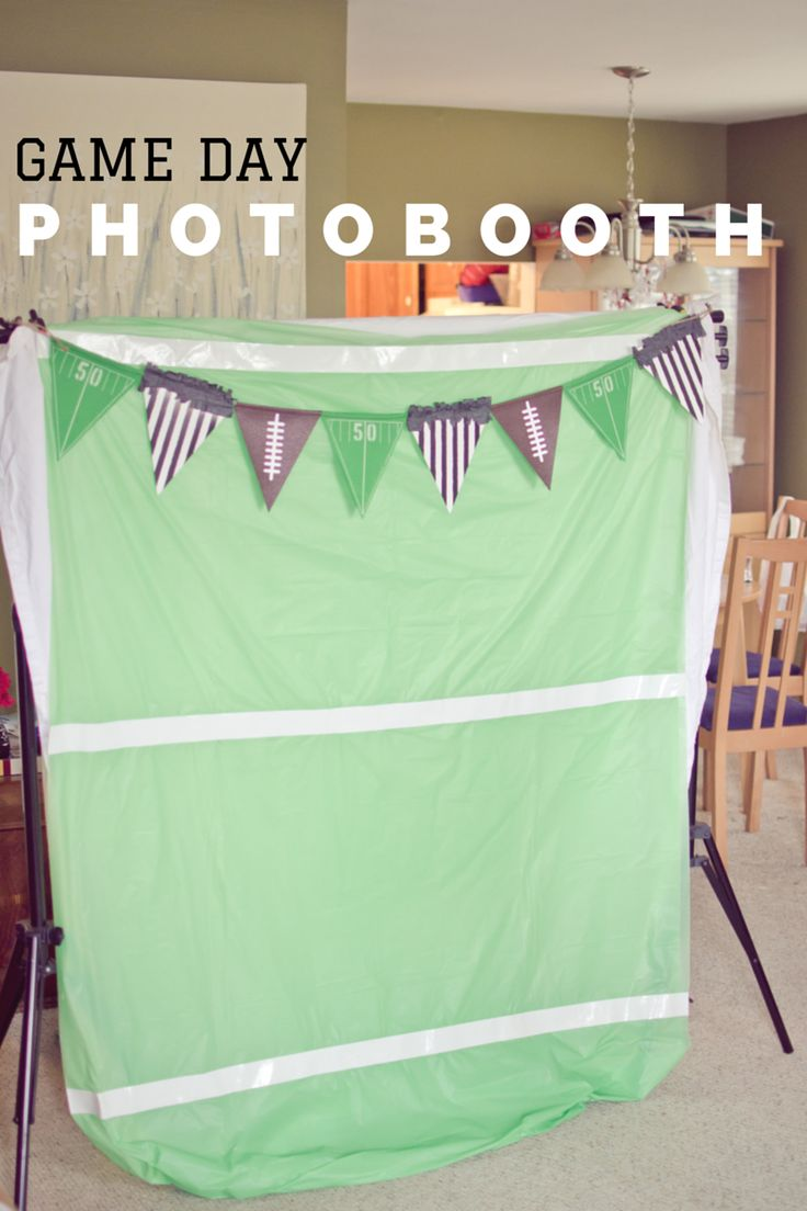 Create a game day photobooth backdrop out of a table cloth and decorations! Repin to see how to create your own!