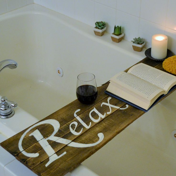 Bathtub Tray with painted words to double as Wall Hanging or Bathing Board by ByGraceICreate on Etsy