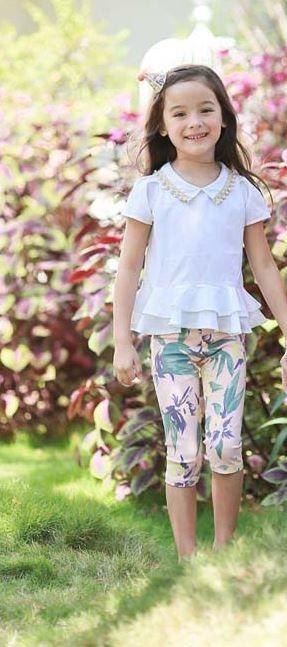 Girls Pearl Peplum  White Top with Flowery short Legging - $ 34.99