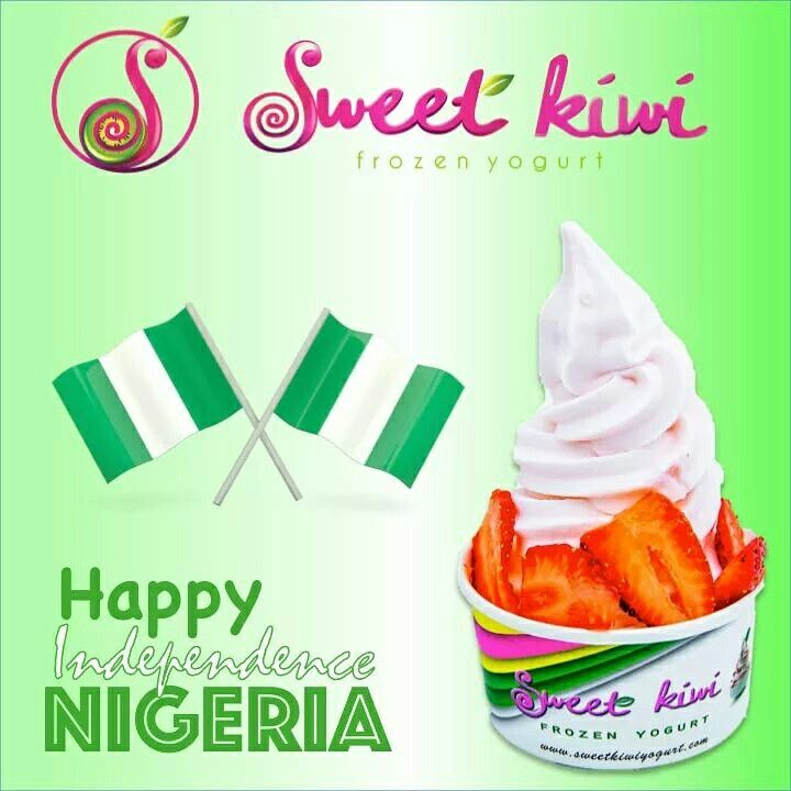 Happy Independence Day Nigeria! We love you from yours truly... #Sweetkiwi  #froyo #frozenyogurt #Nigeria #independence #Thursday #happy #Freedom #dessert #ProudlyNigerian #Lagos #Lekki