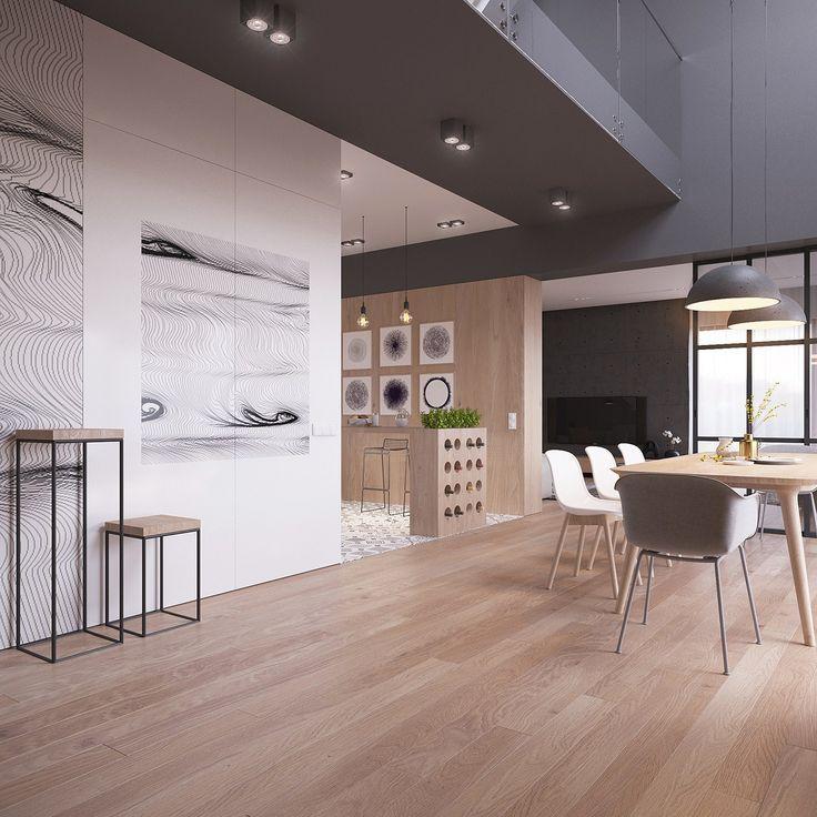 La cucina è separata dalla zona pranzo da una piccola isola, elegante supporto per piante aromatiche e per vino
