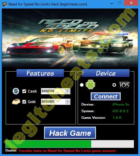 Bienvenue à tous à nouveau. Aujourd'hui, notre équipe vous apporte toutes les Need for Speed No Limits pirater qui vous donnera accès à un nombre illimité d' Or, trésorerie .