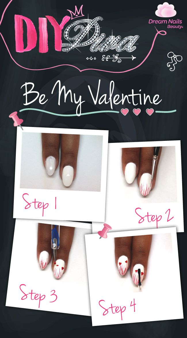 DIY DIVA Be my Valentine Create your own valentine nails #Love #DIYNails