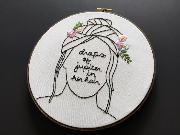 Drops of Jupiter // Train Lyrics // 8-inch Embroidery Hoopart, White by threadhoney on Etsy https://www.etsy.com/listing/242652785/drops-of-jupiter-train-lyrics-8-inch