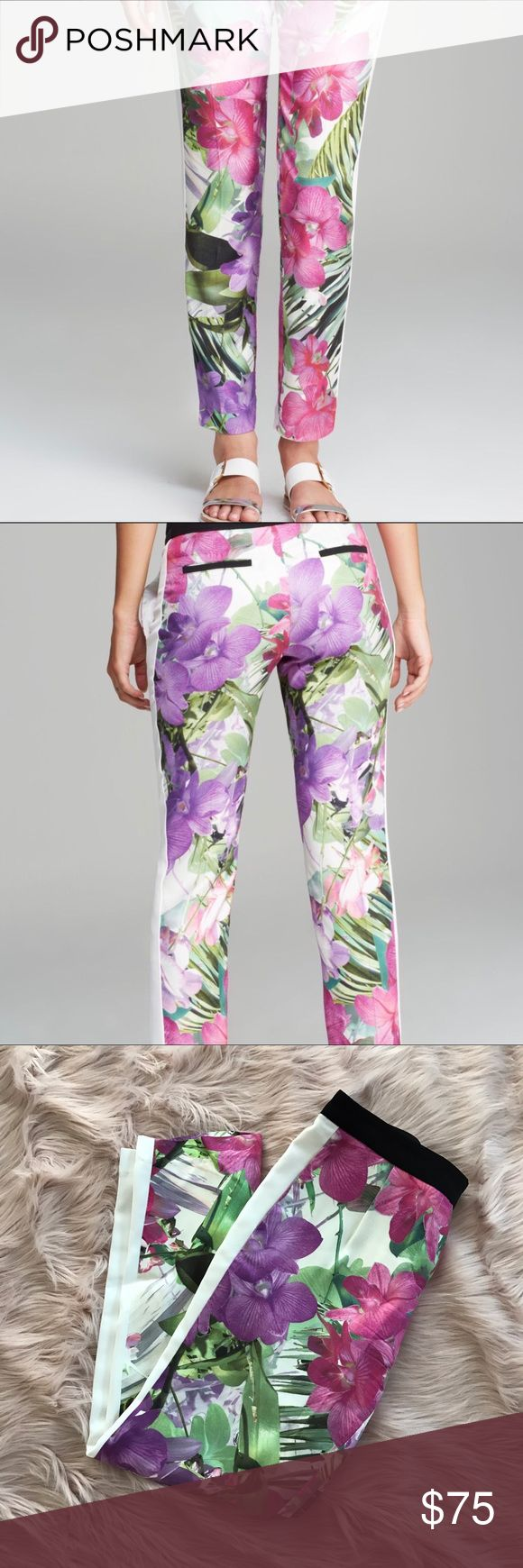 Trina Turk floral pants size 6 Incredibly chic Trina Turk floral tuxedo pants. The PERFECT spring pant 🦄 Size 6 100% rayon, made in the USA. perfect for special occasions when you don't want to wear a dress #datenight?  💘. Trina Turk Pants