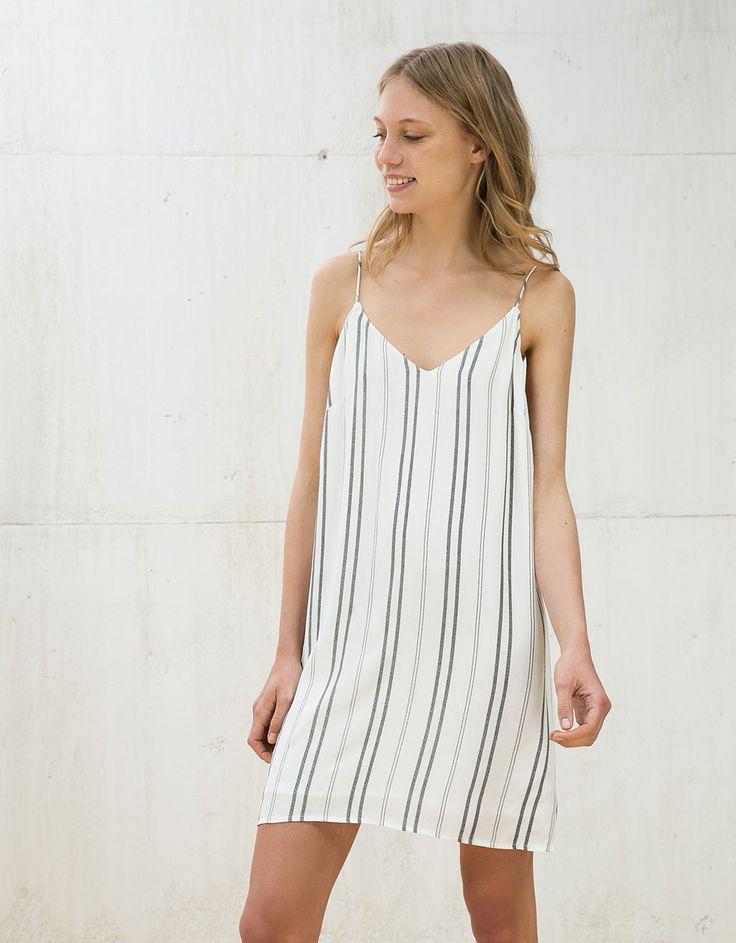 Φόρεμα δαντέλα ρίγες - Φορέματα - Bershka Greece