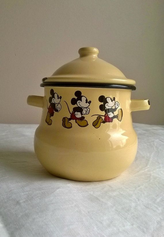 Disney Kitchen Decor, Vintage Enamelware, Disney Collectibles, French  Country, Enamel Pot,French Kitchenalia,retro Canisters, Mustard Yellow