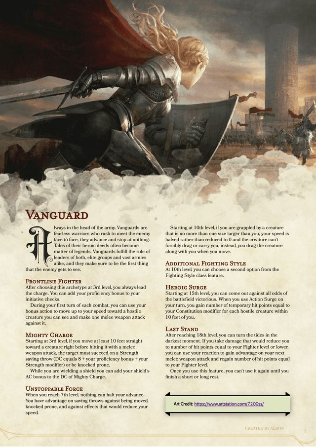 Vanguard Martial Archetype Don't waste your time