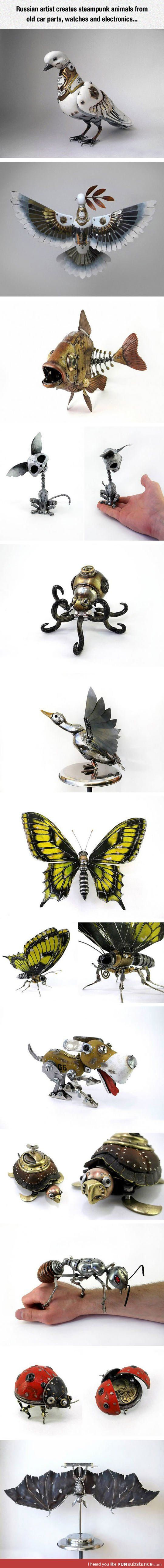 Steampunk animals from old car parts