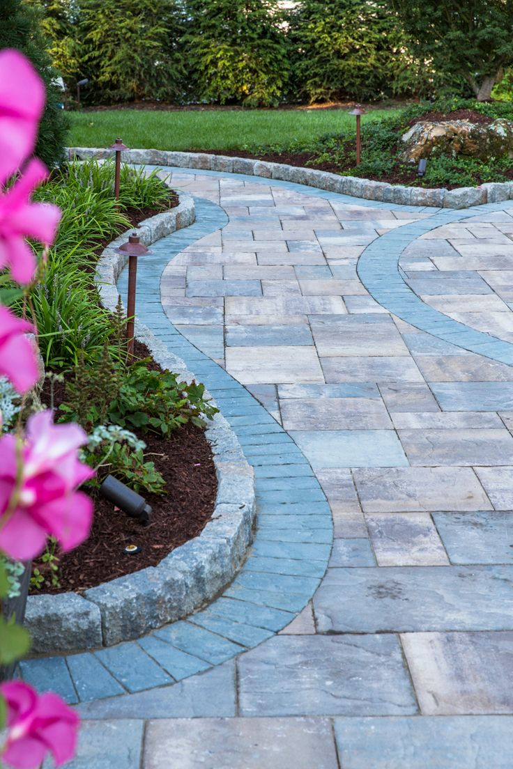 Cambridge pavingstones wall systems color options - Try Adding A Landscape Wall And Some Flowers