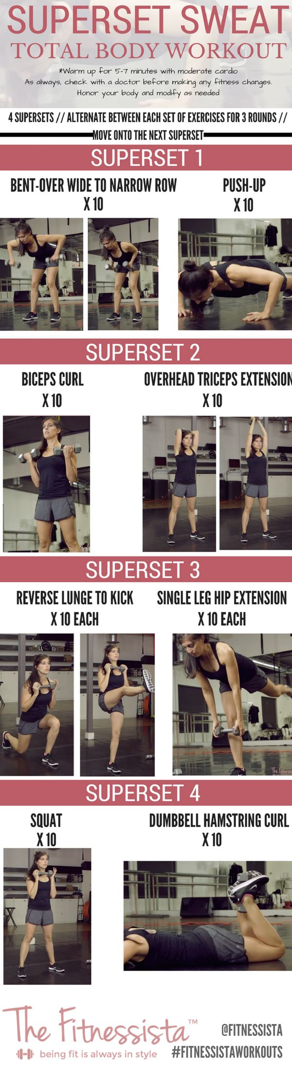 Total body superset workout. All you need is a pair of dumbbells! Work your entire body and burn a ton of calories. fitnessista.com How to lose weight fast in 2017 get ready to summer #weightloss #fitness