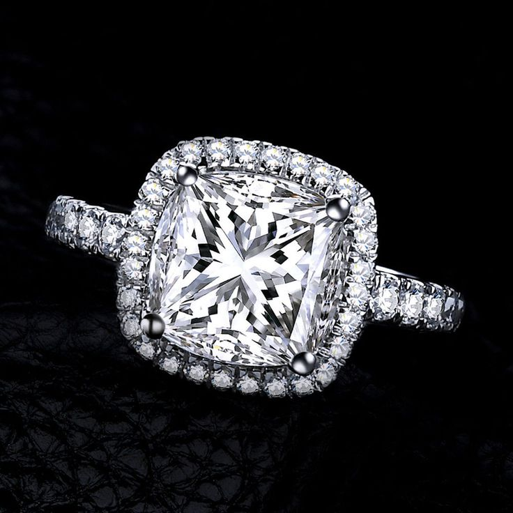 6.00Ct Cushion Cut D/VVS1 Halo Engagement Ring in 14k Gold Over #AffinityGold #Halo