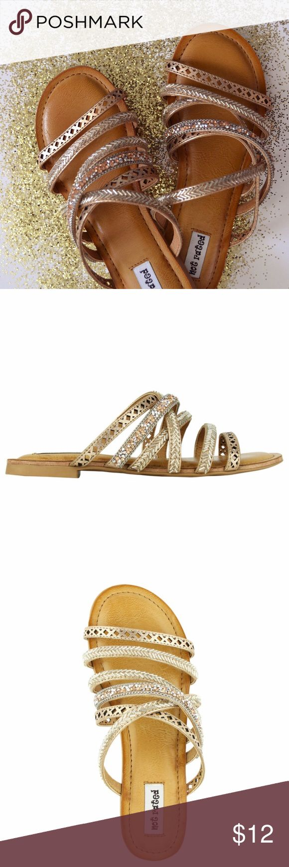 Rose Gold Not Rated Slides Like New!  Rose Gold / Champagne/ Gold accents  Easy Slide fit  Very Comfortable! Not Rated Shoes Sandals