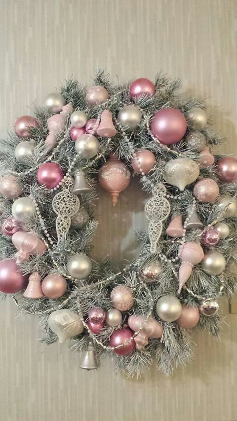 Pale Pink, Silver And Gold Christmas Wreath
