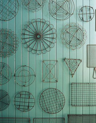Wall of wire.: Wall Colors, Wall Art, Wall Hanging, Yard Art, Collection Display, Vintage Cakes, Wire Racks, Wire Trivet, Wire Art