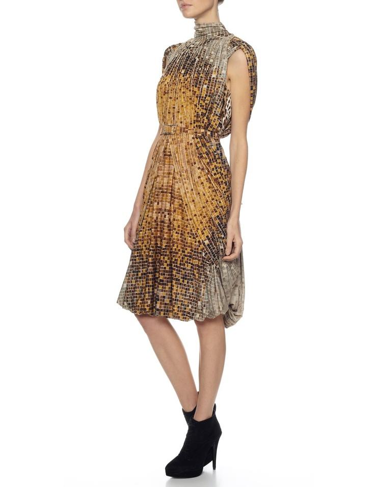 Brown Mosaic Cape Dress | Wunderkind