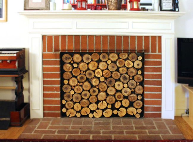 DIY Fireplace Hack Banish drafts (and save on energy costs!) with this beautiful barrier