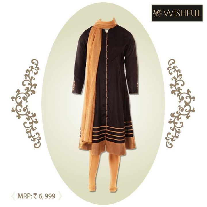 Another pretty #Wishful ensemble for a happy you.   With a bit of #golden and whole lot of black, this ensemble looks sober yet #fashionable. Isn't it?