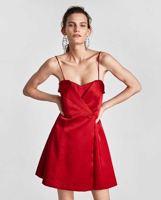 Zara satin dress with exposed shoulders