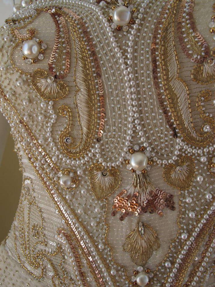 Givenchy Haute Couture de noite de seda do vestido w / Beading & Bordados n ° 66242 imagem 5