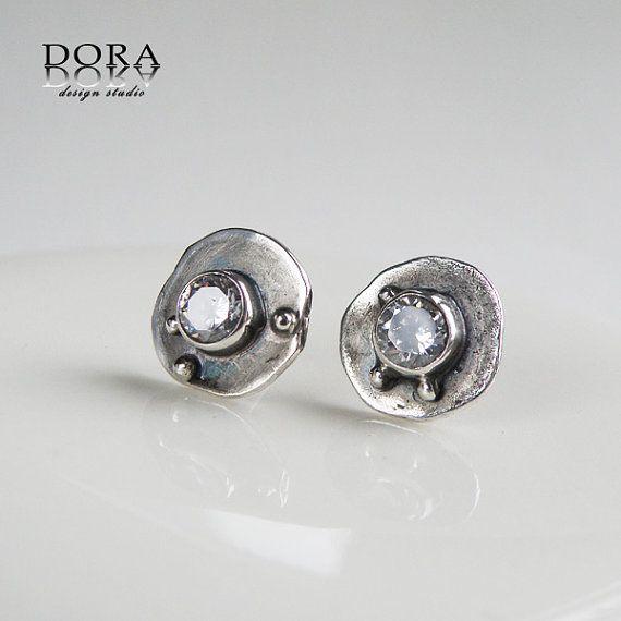MINIMA-spark silver studs with white zircon by DORAbluedesign