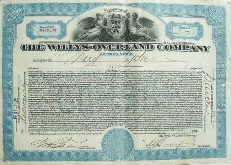 Stock/Bond: The Willys-Overland Co.(Jeep) Common Stock Certificate- Five Shares 1929