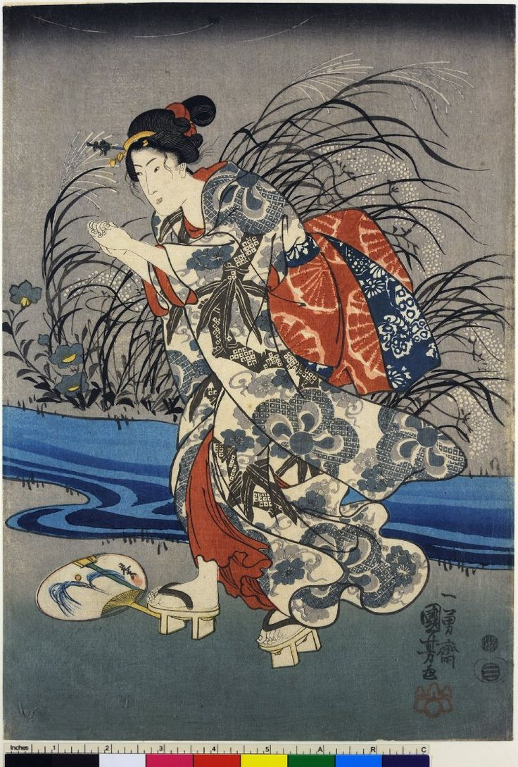 Utagawa Kuniyoshi (歌川国芳) Woodblock print, triptych. Three girls with fans by a stream on summer evening; girl holding box for catching fireflies. Nishiki-e on paper.