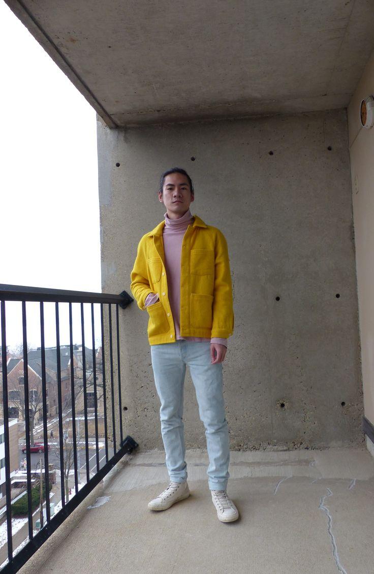 Custom yellow wool chore coat, Custom dyed Uniqlo ...