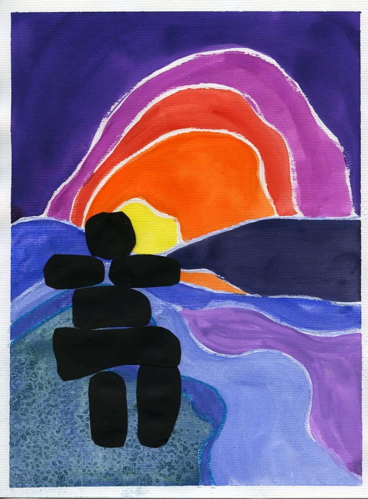 that artist woman: Painting in the style of Ted Harrison - crayon, watercolor, pastel, paint, silhouettes, color values, line