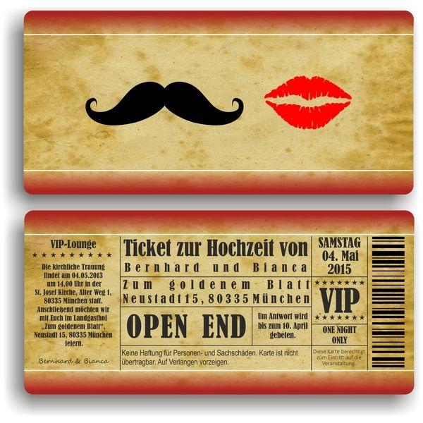 Einladung Zur Hochzeit / Eintrittskarte Ticket