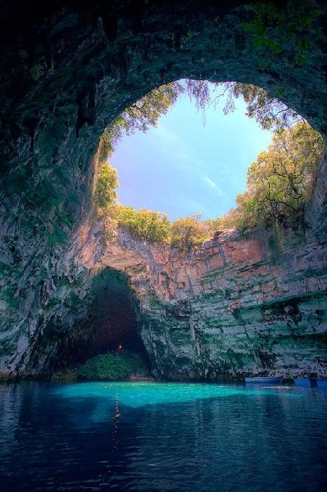 Melissani Cave or Melissani Lake, also Melisani is a cave located on the island of Kefalonia
