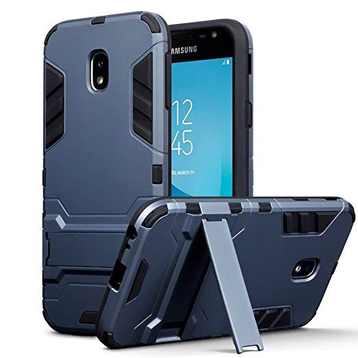 Galaxy J3 2017 Case - Terrapin Samsung Galaxy J3 2017 (Version J330F) Cover - Full Body Shock Resistant Armour Case - High-Tech Look - Dual Layer - Kickstand - Dark Blue