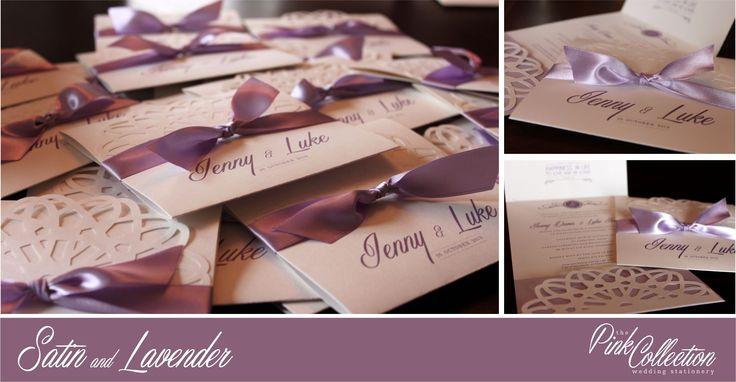 A popular invitation choice, elegant with satin lavender ribbon and cutout pattern.
