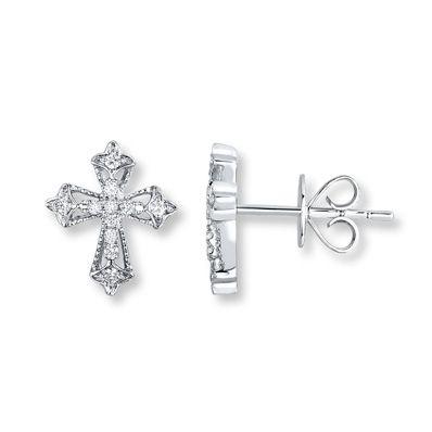 Diamond Cross Earrings 1/10 ct tw Round-cut 10K White Gold