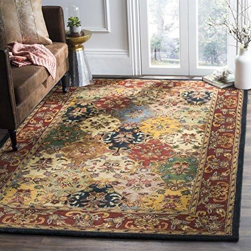 Handcrafted Oriental Multi and Burgundy Wool Area Rug