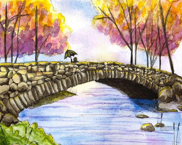 """""""Spring Bridge""""  Visit my Etsy shop: www.sweetpeafineart.etsy.com View my artist website: www.sweetpeafineart.com"""
