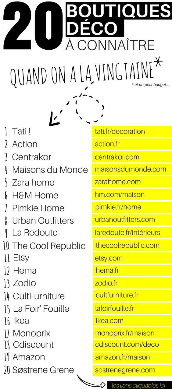 La vingtaine ? Vous aimez la déco mais votre budget est serré ? Découvrez cette liste des 20 boutiques à connaître pour une déco tendance sans se ruiner !