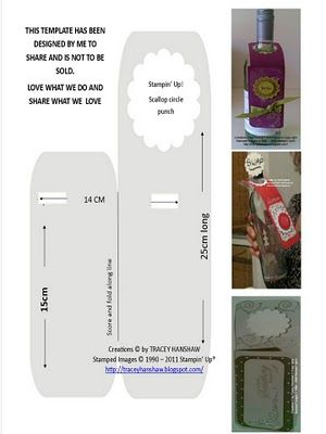 CREATE AND PLAY CLUB - TRACEY HANSHAW: WINE BOTTLE NECK GIFT TAG - HAND MADE - WITH STAMPIN' UP! PRODUCTS