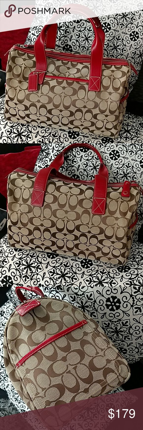 Coach speedy boston satchel like new This bag is super cute and rare. It's coaches version of the Louis Vuitton speedy and the Gucci Boston. It's the beige signature monogram with red leather trim. The satchel is my favourite style bag so this might end up back in my closet. Price is firm Coach Bags Satchels