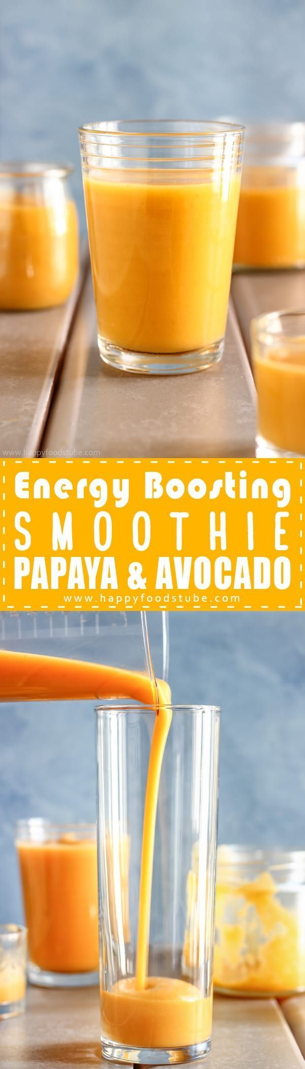Energy boosting smoothie recipe with papaya & avocado. Healthy energy boosting smoothie. Best weight loss smoothie recipe. Energy smoothy for workout via @happyfoodstube