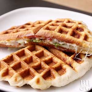 Your waffle maker isn't just for breakfast! Waffle-cook a biscuit grilled cheese for a fast and fun lunch.