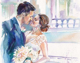 Regali di nozze personalizzati  Custom ritratto Acquerello