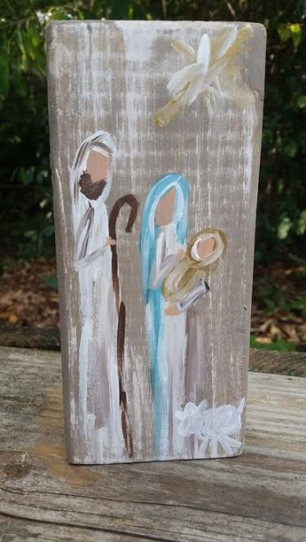 Hand Painted Nativity Scene Block by Reclaimed2013 on Etsy