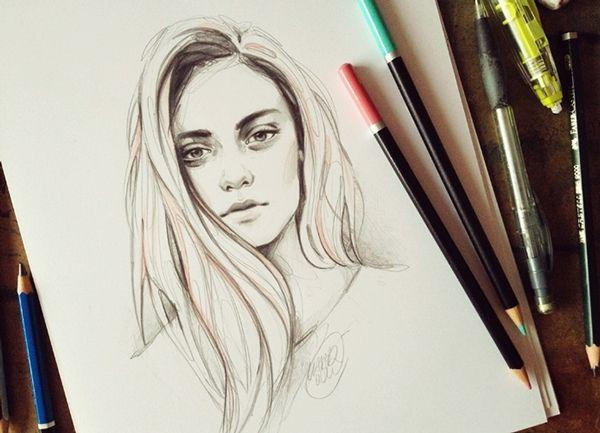 Belos rostos femininos nas ilustrações de Katarzyna Kozlowska - Desenhar rostos é uma tarefa que exige muita técnica e habilidade. É preciso encontrar um bom equilíbrio entre as linhas esombras para que o des...