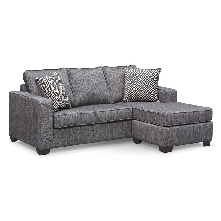 $799.99 Living Room Furniture - Sterling Charcoal Queen Memory Foam Sleeper Sofa w/ Chaise