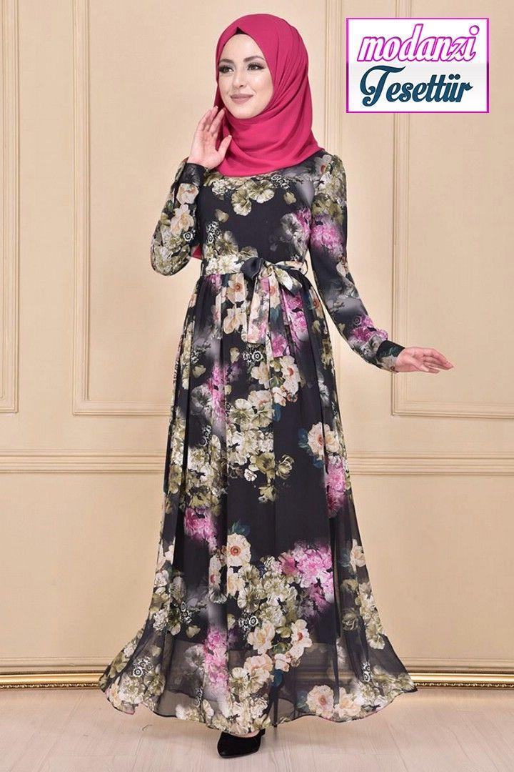 Kusakli Sifon Elbise Haki Moda Merve Yeni Sezon Sifon Tesettur Elbise Modelleri 2020 Elbise Modelleri Elbise Moda Stilleri