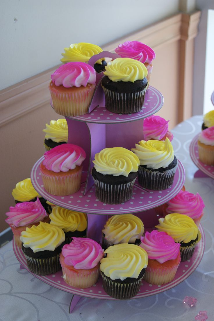 Lovely Pink Yellow Purple Baby Shower Part - 12: Pink U0026 Yellow Baby Shower - Dessert / Sweets Table - Cupcakes
