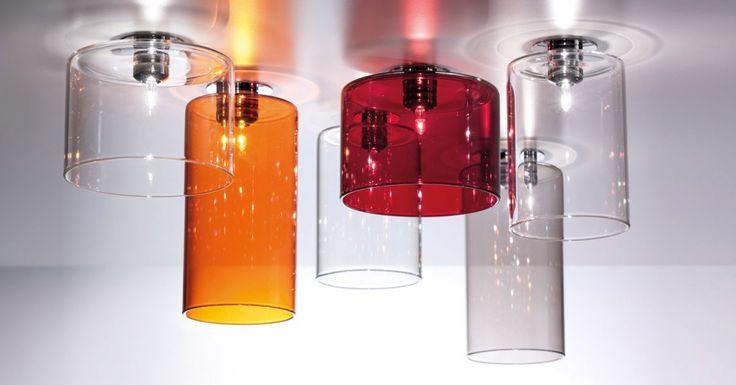 PL SPIL G I / PL SPIL M I / PL SPIL P I / Spillray soffitto, cristallo, arancio, rosso e grigio